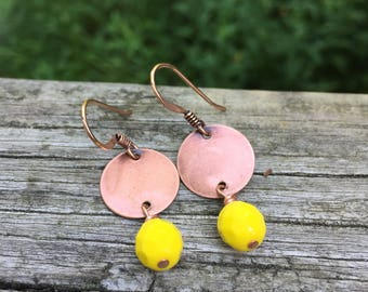 Copper Discs . Czech Glass . Earrings