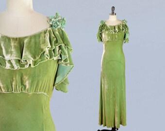 RESERVED --1930s Dress / 30s GREEN Silk Velvet Evening Gown / Cutout Shoulders / Bias Cut / Velvet Rosettes