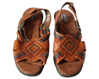Brown Leather Huaraches Sandals Woven Flats Dr. Scholl's Women's Size 5 M