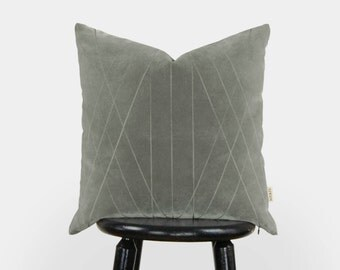Grey Velvet Pillow | 18x18 Graphic and Geometric decorative pillow case, cushion cover in gray | Mid century modern home decor