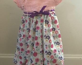 Baby Girl crochet top dress pink and purple