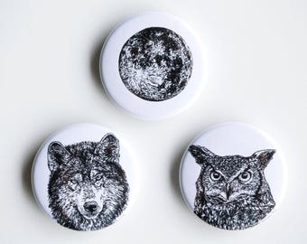 "Owl, Wolf, Moon Magnets - Night Creatures Set of Strong Magnets - 1.5"" - Fridge Magnets - Animal Magnet Animal Decor Woodland kitchen"
