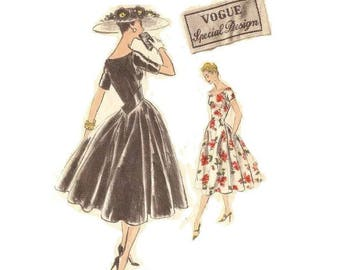 1950s Cocktail Dress Pattern Evening Dress, 4700 Vogue Sepcial Design, with Sew in Label, Bust 34, Size 16, Vintage Sewing Pattern