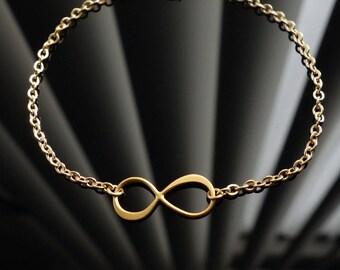 Infinity Charm Bracelet in Gold, friendship bracelet, wedding, bridesmaid gift, chain bracelet