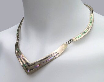 1970s Articulated Sterling & Abalone Necklace