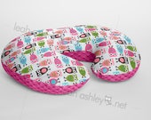 Minky Boppy® Pillow Cover - Night Owls Hot Pink MINKY with Hot Pink MINKY Dot OR Choose Your Minky Dot Color - BC3