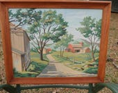 Vintage Paint by Numbers PBN Finished Countryside Rural Down a Country Lane Farm with Barn Framed Painting Picture
