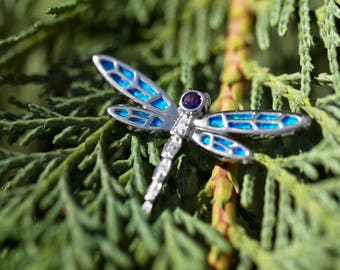 Dragonfly Slide Pendant 925 Sterling Silver Synthetic Opal and CZ stones