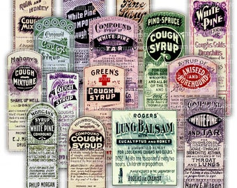 Drug Store Label Antique Digital Printable Download Vintage Cough Syrups Pharmacy Chemist Apothecary Old Paper Ephemera Collage Sheet 827