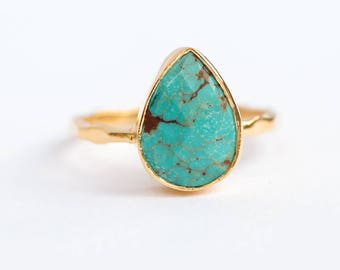 Turquoise Ring Gold, December Birthstone Ring, Gem Ring, Solitaire Ring, Gold Ring, Stackable Ring, Tear Drop Ring, Raw Stone Ring
