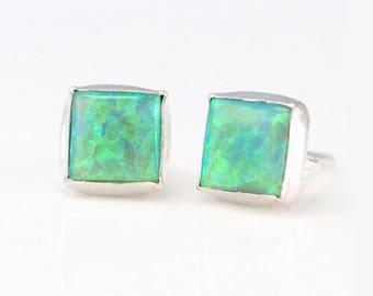 Green Opal Silver Stud Earrings, Opal Earrings, October Birthstone Studs, Gemstone Studs, Sterling Silver Studs, Small Studs, Jewelry Trends