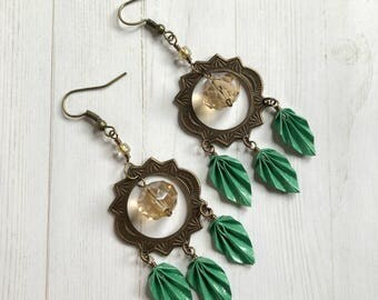Origami Leaves Boho Chandelier Earrings