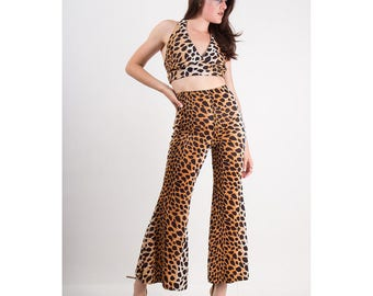 Vintage bell bottom pants and halter top set / 1970s animal print loungewear / Fredericks of Hollywood S M