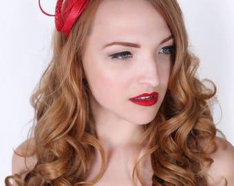 Mini Red Fascinator - Flitter-by Mesh Red Fascinator Headband