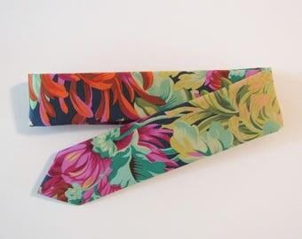 Bright Chrysanthemum Floral Skinny Tie // Kaffe Fassett Cotton & Silk Necktie