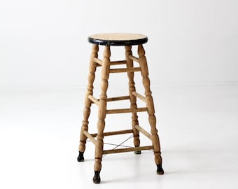 antique wooden stool, turned wood kitchen stool