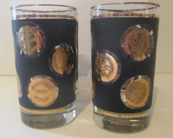 Libbey Gold Coins Flat Tumbler Glasses Set of 4