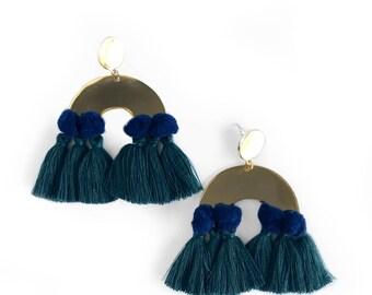 Emerald Fringe Pom Earrings, Navy Statement Earrings, Fringe Earrings, Pom Earrings, Pom Pom Earrings, Statement Earrings, Gifts for Her