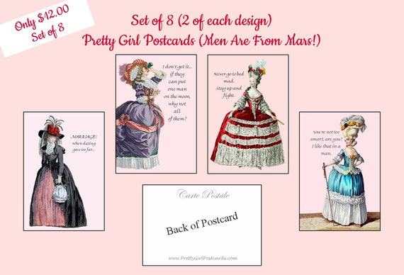 Set of 8 Pretty Girl Postcards ~ Men Are From Mars! ~ Funny Postcards ~ Marie Antoinette Cards ~ Funny Quotes ~ Funny Sayings ~ Husbands
