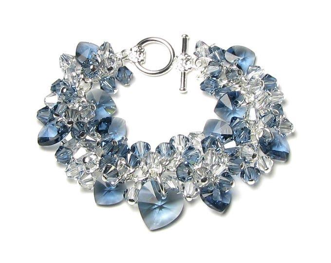 Denim Blue Swarovski Crystal Cluster Silver Charm Bracelet Romantic Wedding Heart Jewelry For Women Fun Graduation Gifts Summer Faded Jeans