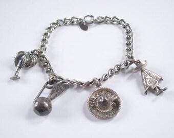 Vintage Danecraft Sterling Silver Link Charm Bracelet