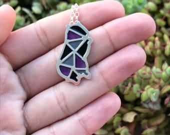furry animal silver pendant - purple marmot silver pendant - enamel purple black and gray