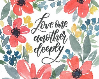 Love one another floral wreath watercolor print