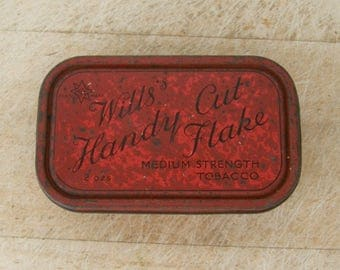 WILLS'S HANDY CUT Flake Medium Strength Tobacco 2 Oz Tin Red Oblong Shape Great Graphics Patent No. 1904 Rare English Tobacciana Collectible