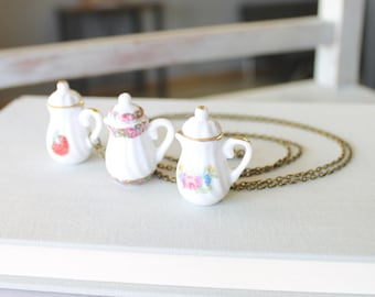 Decorative Teapot Necklace - Teapot Jewelry - Tea Party Favor - Tea Lovers Necklace - Tea Party Gift - Tea Lover Gift - Long Chain Necklace