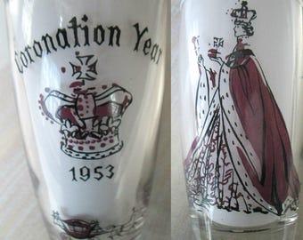 Queen Elizabeth Coronation Glass Tumbler Mid Century Collectible