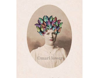 Butterfly Art Print, Unusual Portrait of Victorian Woman with Headdress, Spring Decor