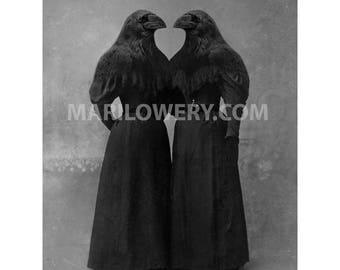 Black Crow Twin Sister Halloween Decor Collage Art 8x10 Inch Print, Gothic Halloween Wall Art