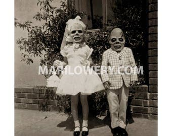 Creepy Halloween Decor Altered Vintage Photography Kids with Horror Masks Collage Art Print, 7 x 7 on 8.5 x 11 Inch Paper