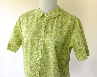 60s Green Floral Shirt Patterned Blouse Short Sleeved Peter Pan Collar Womens Medium