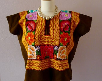 "Mexican embroidered VINTAGE Tehuana huipil blouse Oaxaca brown sating boho costume Frida Kahlo 23"" W x 21"" L - LARGE"