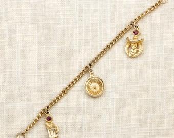 Gambling Theme Charm Vintage Bracelet Gold Purple Rhinestones Slot Machine Cowboy Roulette Chain Costume Jewelry 16S