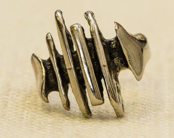 Abstract Linear Vintage Ring Silver Metal Simple Design US Womens Size 5 7RI