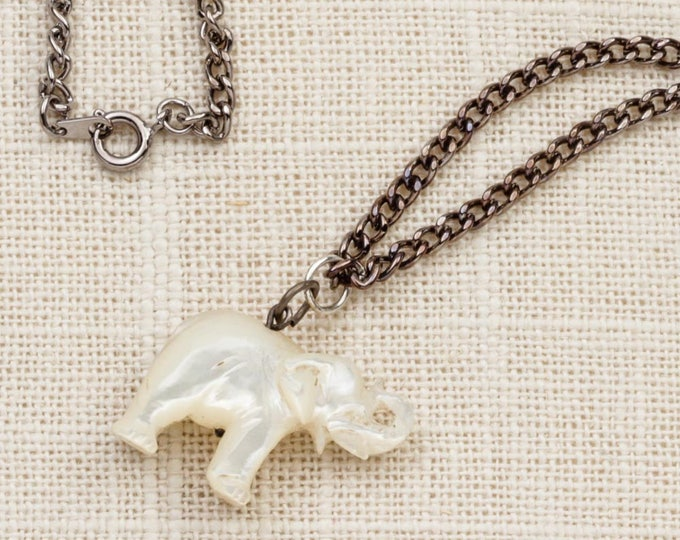 Elephant Charm Necklace Vintage Silver Milky White Ivory Pearlized  Chain Costume Jewelry 7L