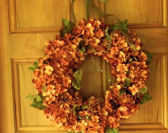 Fall Wreath , Autumn Wreath , Hydrangea Wreath Wreath For The Door - Harvest Wreath - Outdoor Wreath - Thanksgiving Wreath