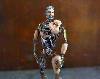 "Watch Parts Figure ""Prometheus"" Articulated Clockwork Mechanical Humanoid Robot Frankenstein Recycled Automaton Justin Gershenson-Gates"