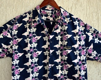 Mens Vintage SURF Hawaii Shirt Size M L  42 44 Summer Print Thaiti Style Black Floral Dress Shirt
