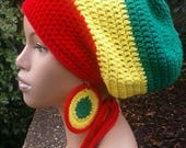 PATTERN ONLY Multicolor Adjustable Crochet Slouch Hat/ Tam/ Dreadlock Pattern with optional drawstring