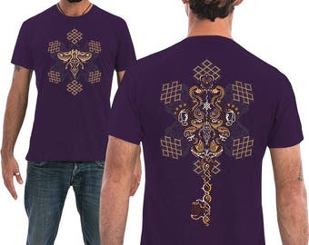 Purple Mens T shirt, Sacred Geometry Shirt, Spiritual, Psychedelic Shirt, Mens Festival Clothing, For Him, Psy Trance, Goa Fashion