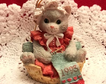 Calico Kittens Ornament, Christmas, Enesco, 1992, Never Used, Still in Box, Kitten Knitting in Basket, Cat Lovers, Kitten, Ceramic Ornament