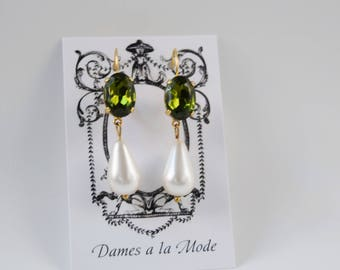 Olive Green Crystal and Pearl Earrings, Green Crystal Pearl Earring, 18th Century Pearl Paste Earring, Emerald Crystal Jewelry, Pearl Dangle
