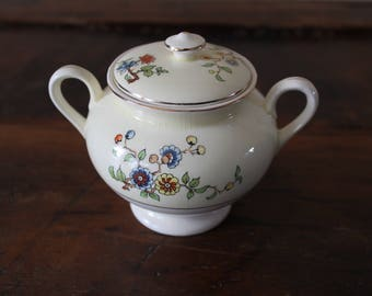Steubenville Sugar Bowl with Lid, Floral Sugar Dish, Made in USA, Vintage