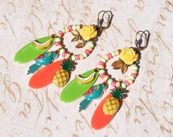 FREE SHIPPING Tropical Birds & Fruits Chandelier Earrings - Parrot Earrings - Parrot Jewelry - Folk Art Earrings - Summer Trends Jewelry