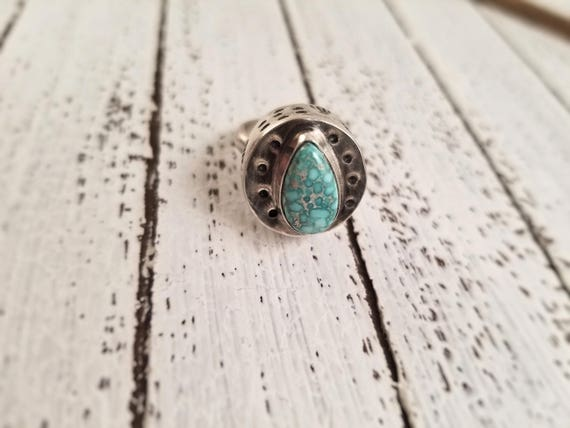 SALE - Handmade Sterling Hollow-form White Water Turquoise Ring, Turquoise Statement Ring