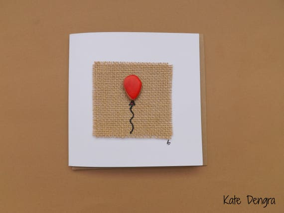 Red Balloon Pebble Greetings Card