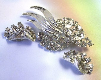 Antique Retro Old Crystal Rhinestones Vintage BSK Rhinestone Brooch Set, vintage rhinestone brooch, BSK jewelry, signed jewelry
